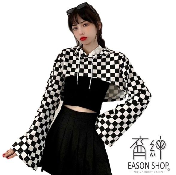 EASON SHOP(GW8011)實拍復古撞色黑白格紋格子超短版露肚臍長袖素色棉連帽T恤罩衫女上衣服落肩寬鬆