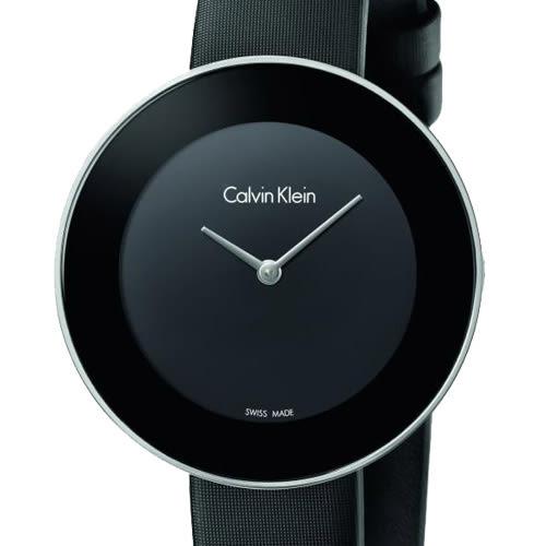 【時間道】Calvin Klein | CK時尚簡約仕女腕錶/黑面黑緞(K7N23CB1)免運費