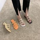 蕾拉 經典百搭鉚釘細帶外穿拖鞋女2020夏季新款時尚低跟粗跟涼拖