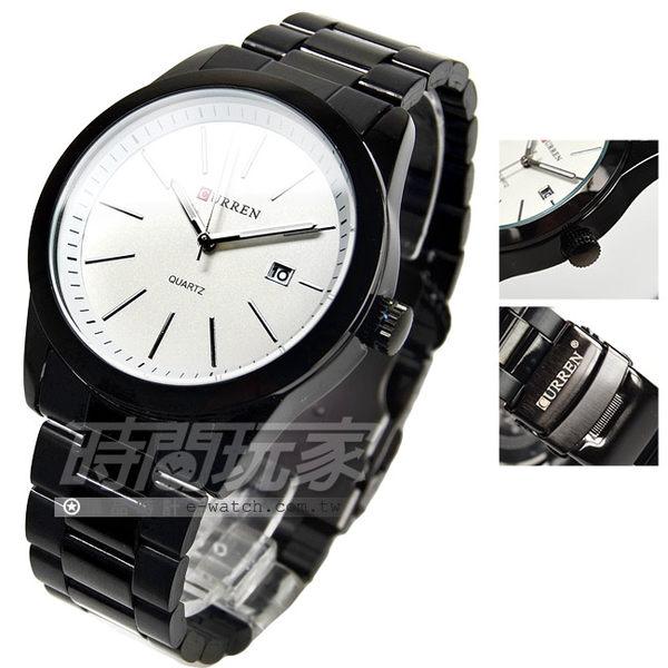 CURREN 經典簡約時尚腕錶 男錶 白xIP黑電鍍 CU8091IP白