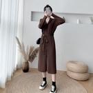 韓版洋裝.針織連身裙長款毛衣裙過膝女秋冬寬松收腰V領內搭打底針織連身裙CF124B快時尚