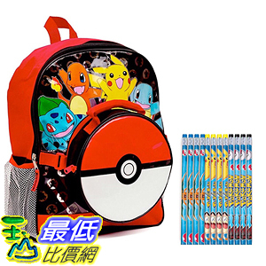 [美國直購] 神奇寶貝 精靈寶可夢周邊 Pokemon 97208P12 Kids Backpack Set - Large Backpack Lunch Bag Pencils