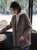 短外套女秋冬季百搭毛呢2020年新款格子大衣小個子中長款西裝呢子