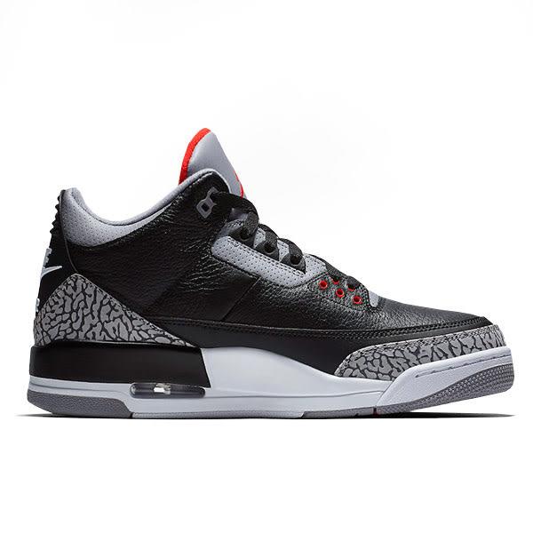 【現貨不用等!】CLASSICK NIKE Air Jordan 3 Retro OG GS 黑色 水泥 黑水泥 女 854261-001