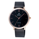 MIRRO 極簡主義時尚腕錶-玫瑰金X黑大