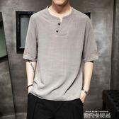 亞麻短袖男中國風t恤夏季潮流復古五分半袖胖子刺繡棉麻中袖上衣 依凡卡時尚