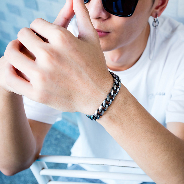 Z.MO鈦鋼屋 白鋼男士手鍊 霸氣手鍊 父親節禮物 單品搭配 流行時尚 單件價【CKS1017】