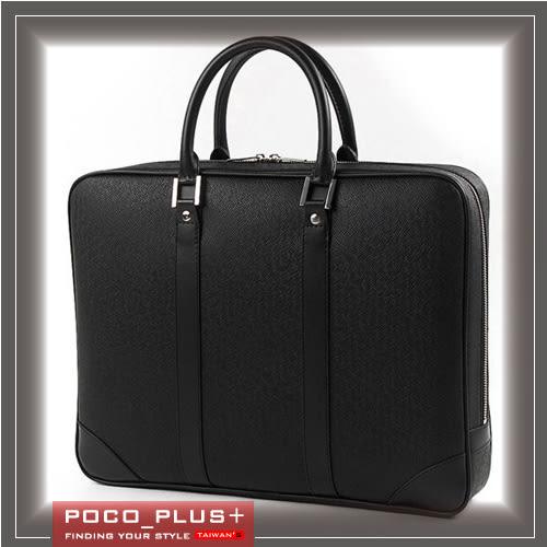 PocoPlus 復古公事包 棕色 瘋馬皮紋 手提包硬挺公文包 電腦包 【B509】
