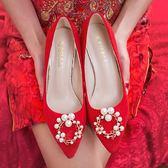 高跟鞋婚鞋女冬季結婚粗跟新娘鞋紅色禮服秀禾鞋婚紗水晶鞋子高跟鞋宴會 小天使
