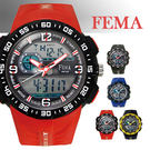 【僾瑪精品】FEMA 菲瑪 學生當兵系列 潛水風計時鬧鈴雙顯運動錶/紅-45mm/P442A