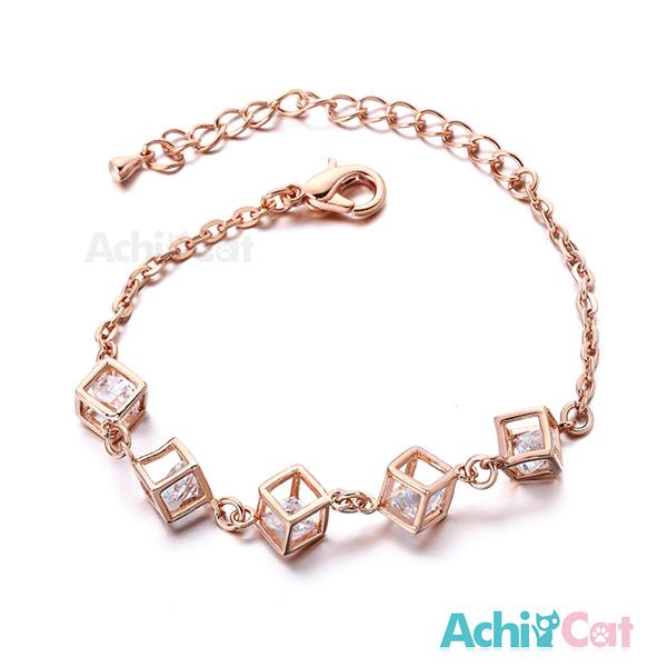 AchiCat 手鍊 正白K 晶鑽方塊 玫金白鋯款 B424