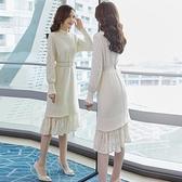 針織洋裝年新款秋冬裝長款毛衣裙冬裙內搭針織打底洋裝女配大衣裙子 雙12全館免運