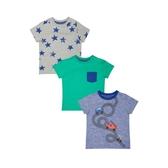 mothercare 藍綠黃印花短T3入-世界海軍(M0SD084)09~18個月
