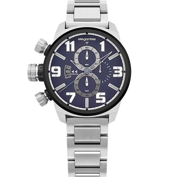elegantsis 大錶面左冠軍風深藍三眼鋼帶錶x48mm藍・公司貨・ELJF48K-OB03MA|名人鐘錶高雄門市