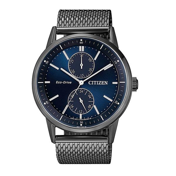 日本CITIZEN星辰Eco-Drive  質感紳士三眼計時米蘭帶腕錶 BU3027-83L  深藍X黑