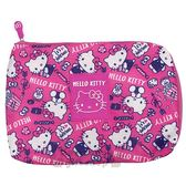 〔小禮堂〕Hello Kitty 尼龍扁平化妝包《桃.爆米花.滿版》收納包.萬用包 4990270-11463