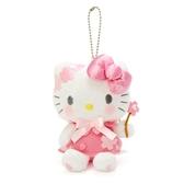 〔小禮堂〕Hello Kitty 絨毛玩偶娃娃吊飾《粉白》掛飾.鑰匙圈.燦爛櫻花系列 4901610-20015