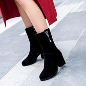 2019秋冬新款短靴女百搭粗跟单靴中靴磨砂高跟中筒靴40大码41-43『潮流世家』