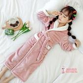 兒童浴袍 珊瑚絨睡袍法蘭絨秋冬季女童加長款睡裙女孩翻領寶寶睡衣
