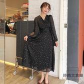 初戀裙胖mm顯瘦復古長袖連身裙黑色氣質收腰長裙【時尚大衣櫥】