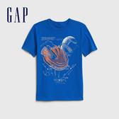 Gap 男童 棉質舒適圓領短袖T恤 539381-鈷藍色