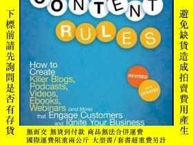 二手書博民逛書店Content罕見Rules: How to Create Killer Blogs, Podcasts, Vid