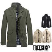[現貨] 日韓風格內裏格紋多口袋造型素面立領外套夾克外套  有大尺碼(四色)【QZZZ310】