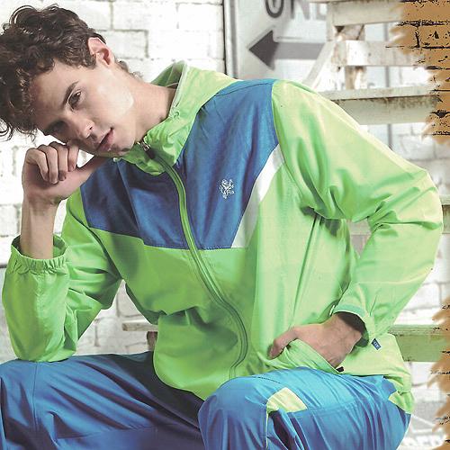 MILD STAR  男女平織網裡運動服套裝[全套]-螢綠-JW705345+PW705205