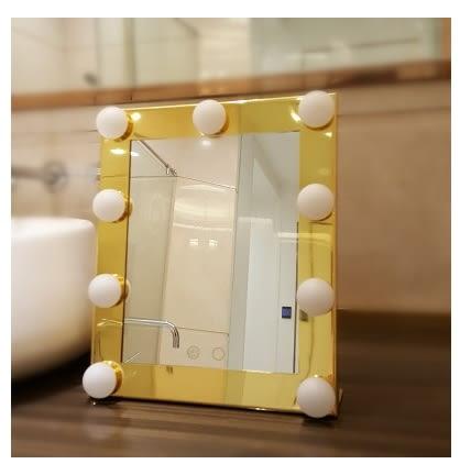 折疊LED燈方形高檔美容鏡  帶燈泡梳妝鏡便攜化妝鏡 【金色 雙色光  電池插電兩用】
