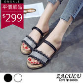 ZALULU愛鞋館 7FE022 閃耀水鑽抽鬚可2穿平底涼拖鞋-白/黑-36-40