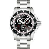 LONGINES 浪琴 Hydro Conquest 1/100 計時腕錶/手錶-黑/47mm L38434566