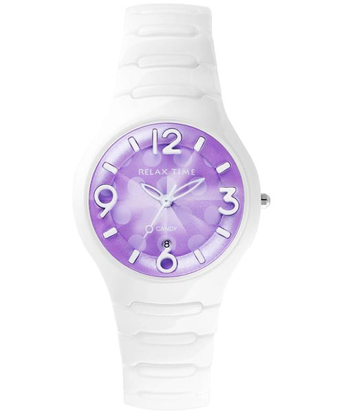 Relax Time Sweet Candy 甜心點點女孩陶瓷腕錶-紫x白/37mm RT-26-31