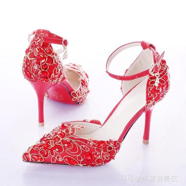高跟鞋 紅色蕾絲亮片金邊水鑽新娘鞋古典配旗袍穿高跟腕帶婚鞋中國風涼鞋   Cocoa