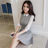 洋裝 長袖翻領格子 婚禮小禮服 韓版 派對連身裙 花漾小姐【預購】