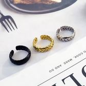 日系飾品簡約歐美麥穗金色鈦鋼情侶潮流對戒男個性開口戒指女學生-Ifashion