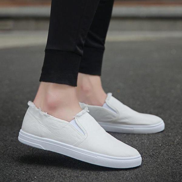 帆布鞋男鞋百搭低筒板鞋韓國學生休閒鞋一腳蹬懶人鞋子 概念3C旗艦店