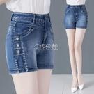 牛仔短褲女高腰夏新款韓版顯瘦直筒褲百搭時尚彈力外穿熱褲潮