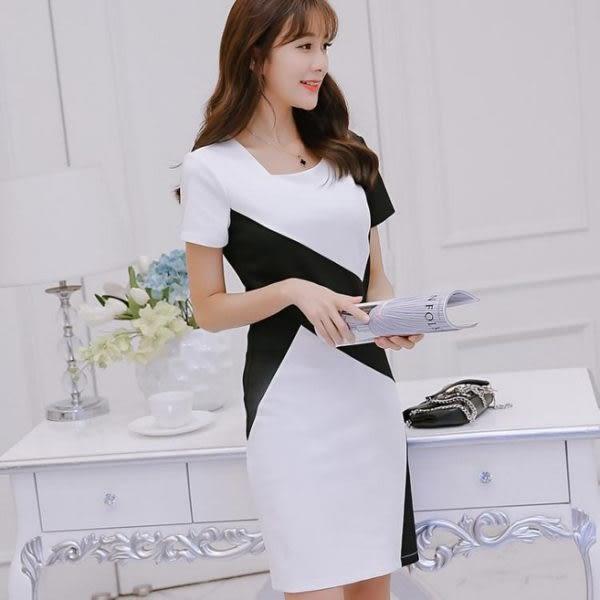 洋裝 大碼百搭短袖連身裙時尚顯瘦拼接打底裙631-570 巴黎春天