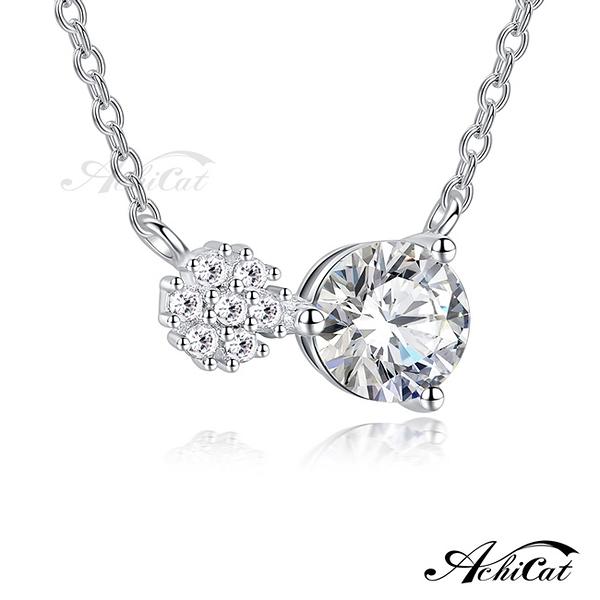 AchiCat 925純銀項鍊 雪白世界 雪花項鍊 單鑽項鍊 女項鍊 鎖骨鍊 生日禮物 情人節禮物 CS7120