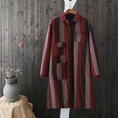 加厚鋪棉 直條紋口袋造型洋裝-中大尺碼 獨具衣格