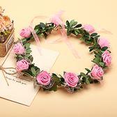 [粉紅色玫瑰花 人造花髮帶 仿真花花圈 花冠假花環] 婚禮小物 生日禮物 求婚&畢業表演花禮