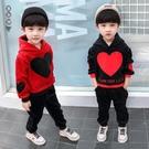 兒童裝男童套裝新款寶寶冬季加厚金絲絨連帽上衣帥氣洋氣長褲兩件套 EY9784『黑色妹妹』