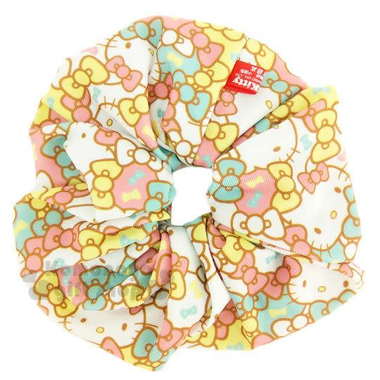 〔小禮堂〕Hello Kitty 髮圈《粉綠.蝴蝶結.大臉.滿版》大腸圈.髮飾 4712977-46325
