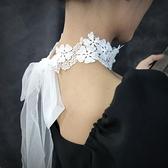 項圈 新品超仙鏤空蕾絲白色花朵氣質長款珍珠系帶綁帶鎖骨鏈choker頸帶 小衣里