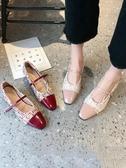 女鞋春秋單鞋女春款中跟小香風復古粗跟春一字扣瑪麗珍高跟鞋(速度出貨)