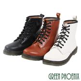 U28-2E204 女款小牛皮馬丁靴  國際精品簡約皮革手縫綁帶義大利小牛皮平底馬丁靴【GREEN PHOENIX】