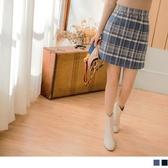 《CA1815-》磨毛英倫質感格紋後拉鍊褲裙 OB嚴選