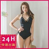 梨卡 - 韓國性感 [美胸+鏤空綁帶 ]火辣交叉露背緊身連身比基尼泳裝泳衣C950