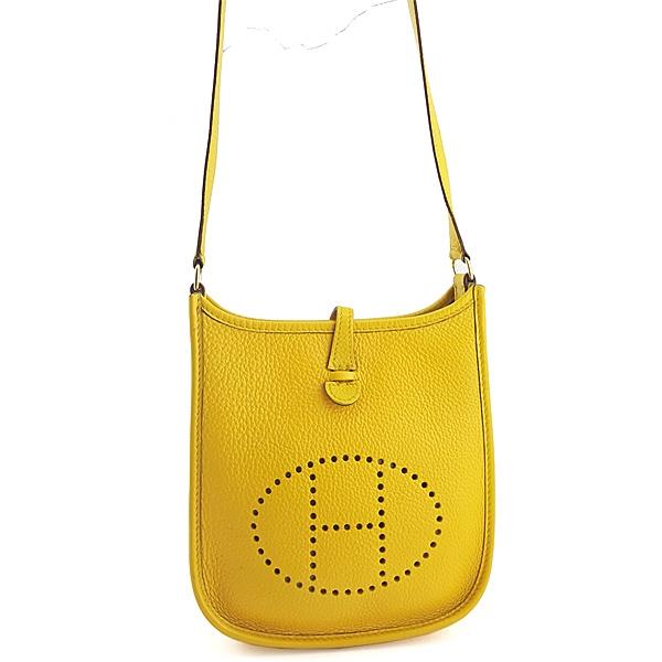 【奢華時尚】HERMES G刻印-黃色牛皮斜背Mini Evelyne包(八五成新)#24838