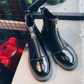 馬丁靴女英倫風2018新款百搭短靴女尖頭鞋ulzzang切爾西靴靴子女-黑色地帶